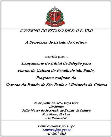 Convite Edital Pontos de Cultura